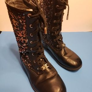 Michael Kors Flat Boots Sequence Lace Up